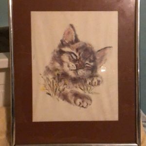 Framed sleeping kitten drawing